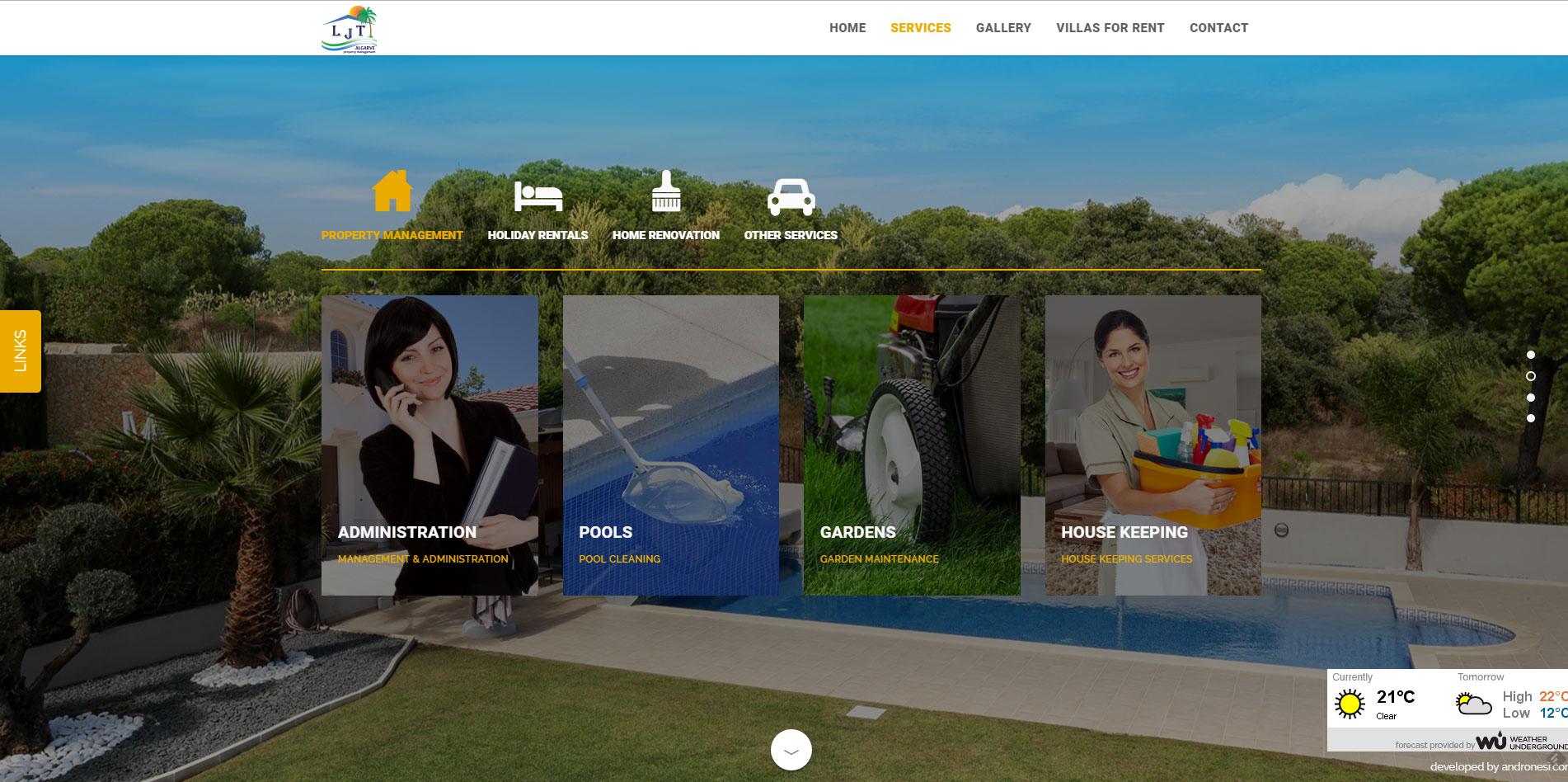 mobile ready website design for LJT Algarve