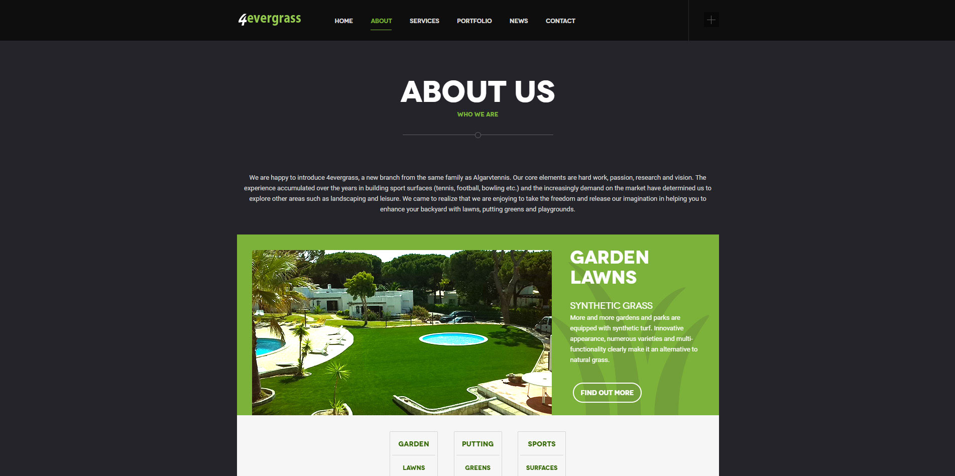 4evergrass website - about us page
