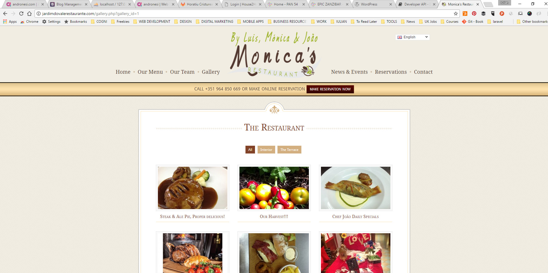 menu page website design for restaurant located in the Algarve